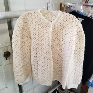 Vintage Handcrafted Crocheted Sweater Cardigan